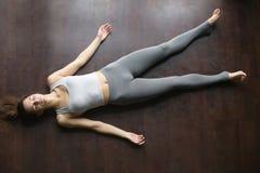 Top view of Shavasana yoga posture Stock Photos