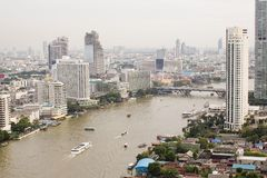 Top view ship on Chao Phraya river, bridge and city scape in Ban Stock Image