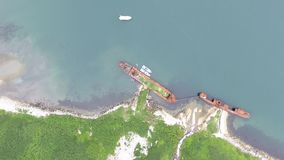 Top view of ships of Coast Guard of Federal Security Service of Russia. Top view of ships of Coast Guard of Frontier Directorate of Federal Security Service of stock footage