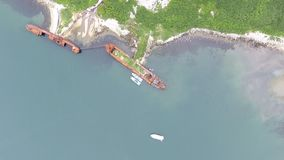 Top view of ships of Coast Guard of Federal Security Service of Russia. Top view of ships of Coast Guard of Frontier Directorate of Federal Security Service of stock video footage