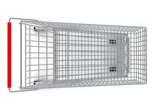 Top view of shopping cart with wheels Stock Photos