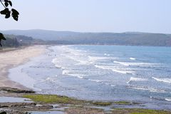 Top View of Shore of Arabian Sea with Western Ghat Hills at Ladghar, Maharashtra, India Stock Image