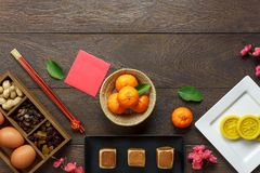 Top view shot of arrangement decoration Chinese new year & lunar Stock Photo