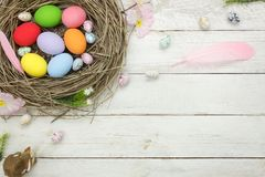 Top view shot of arrangement decoration Happy Easter holiday Royalty Free Stock Image