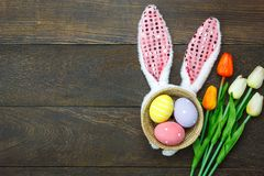 Top view shot of arrangement decoration Happy Easter holiday Stock Image