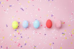 Top view shot of arrangement decoration Happy Easter holiday Stock Photos