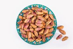 Top View Shot Of Dry Fresh Large Raw Kernels Of Pistachio Nuts I stock image