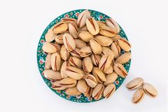 Top View Shot Of Dry Fresh Large Raw Shelled Pistachio Nuts In A Stock Photo