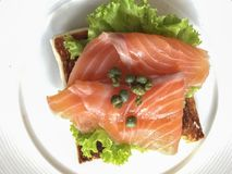 Smoked salmon on toast royalty free stock images