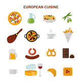 Top view showing European food and delicious elements flat vector illustration. Royalty Free Stock Images