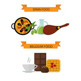 Top view showing European food and delicious elements flat vector illustration. Stock Photography