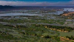 Top view of Si Phan Don Islands, Mekong River, Laos stock photography