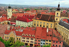 Top view of Sibiu historical centre Stock Images