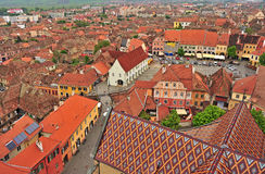 Top view of Sibiu old town, Romania Stock Images
