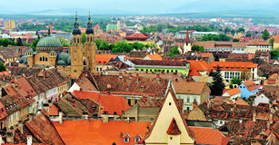Top view of Sibiu old town Royalty Free Stock Photos