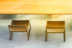Top view side from wooden table and chair with sunlight Stock Images