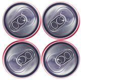 Top view of Tin Cans. Top view of Silver Tin Can isolated in white background . No brand visible Stock Photos