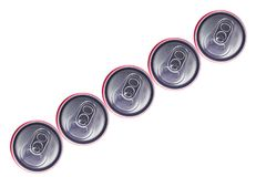 Top view of Tin Cans. Top view of  Silver Tin Cans isolated in white background . No brand visible Stock Photography