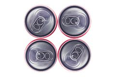Top view of Tin Cans. Top view of  Silver Tin Cans isolated in white background . No brand visible Stock Image