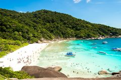 Top view of Similan Island National Park on Andaman sea in Thailand. Blue sky Background. royalty free stock images
