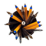 Top view of simple pens and pencil Royalty Free Stock Image