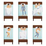 Man Sleeping Poses Set. Top view of single bed with sleeping men in different poses decorative icons set  isolated vector illustration Royalty Free Stock Photos