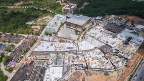 Top view site of big construction. PHUKET, THAILAND - APRIL 26 : Top view site of big construction for Central Festival Phuket phase two in Phuket on April 26 Stock Photo
