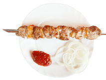 Top view of skewer with lamb shish kebab isolated Royalty Free Stock Photos