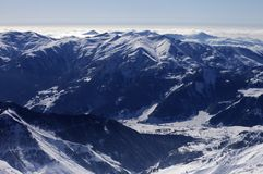 Top view on ski resort at evening Royalty Free Stock Images