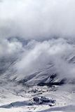 Top view on ski slope and hotels in mist Royalty Free Stock Photography