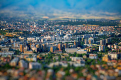 Top view on Skopje city in Macedonia Stock Photo