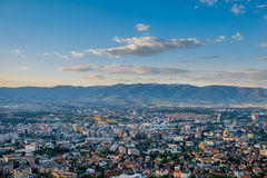 Top view on Skopje city in Macedonia Stock Image
