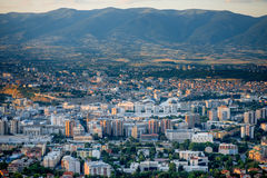 Top view on Skopje city in Macedonia. Top view from Vodno mountain on Skopje city in Macedonia on sunset Royalty Free Stock Photos
