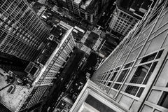 Top view from the skyscraper to city street in Manhattan Midtown in New York Royalty Free Stock Photos
