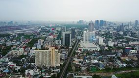 Top View of Skyscrapers in a Big City. Cityscape of City in asia Thailand. Top view of modern city in Thailand.  stock video footage