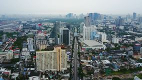 Top View of Skyscrapers in a Big City. Cityscape of City in asia Thailand. Top view of modern city in Thailand