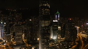 Top view of the skyscrapers in the big city at night. Stock. Great view of the city at night.  Royalty Free Stock Photo