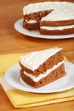 Top view slice of carrot cake Royalty Free Stock Photos