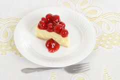 Top view slice of cherry cheesecake Royalty Free Stock Image
