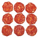 Top view of sliced chorizo sausage Royalty Free Stock Image
