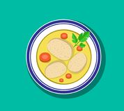 Top view, Sliced gefilte fish soup in bowl, vector. Design Stock Photography