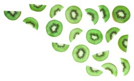 Top view of sliced kiwi on white background royalty free stock photography