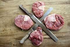 Top view of slices of marrowbone Royalty Free Stock Photos