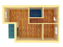 Top view of small apartment with walls Stock Photos