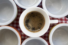 Top view of small coffee-cups Stock Photos