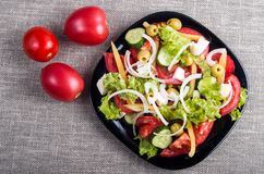 Top view of a small plate of salad made from natural raw vegetab Stock Photos