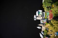 Small port on the lake Royalty Free Stock Photography