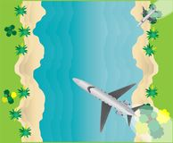 Top View  of Small Private  Jet Airplane Over Sea Scape. Top View  of Small Private VIP Jet Airplane Over Sea Scape Stock Photography
