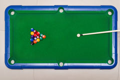 Top view small snooker toy set Stock Images