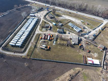 Top view of a small tank farm. Storage of fuel and lubricants. Top view of a small tank farm. Storage of fuel and lubricants stock image